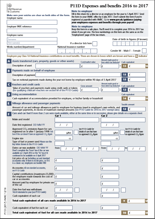 what does a p11d form look like