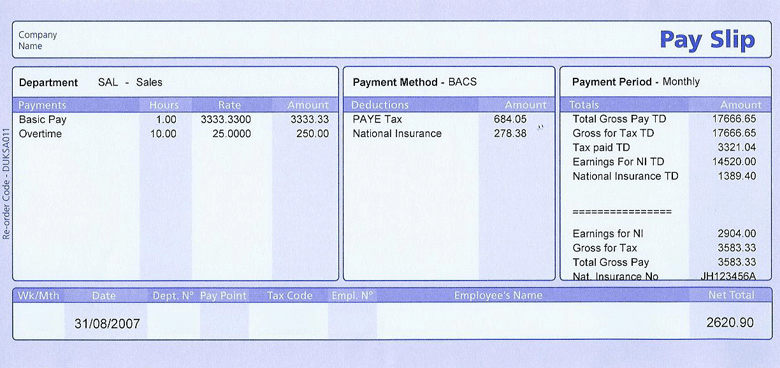PAYE pay slip UK image